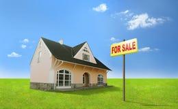 Het huis van de droom voor verkoop. Onroerende goederen, makelaardij, realtor. stock afbeelding