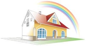 Het huis van de droom ware komst, regenboog Stock Afbeelding