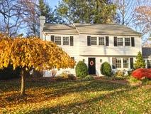 Het huis van de familie met mooi voorgazon stock foto's