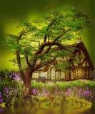 Het huis van de fantasiegnoom Stock Foto's
