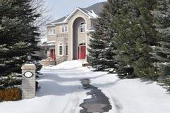 Het huis van de luxe in de winter Stock Fotografie