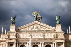 Het Huis van de Lvivopera, Academisch Opera en Ballettheater in Lviv, de Oekraïne stock foto