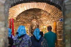Het Huis van de Moeder van God in Turkije, door pelgrims met verzoeken om hulp uit de hele wereld wordt bezocht die royalty-vrije stock afbeelding