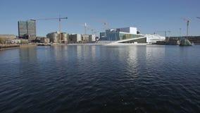 Het huis van de opera in Oslo stock videobeelden