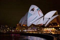 Het Huis van de Opera van Sydney bij Levendig Festival 2012 Stock Fotografie