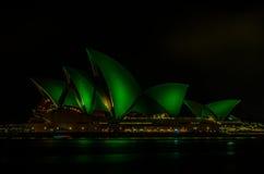 Het Huis van de Opera van Sydney op St Patrick Day Stock Foto's
