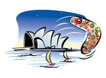Het Huis van de Opera van Sydney, Yacth en het Spel van het Strand. stock afbeelding