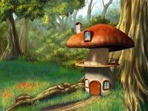 Het huis van de paddestoel royalty-vrije illustratie