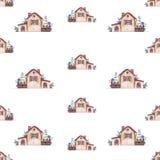 Het huis van de patroonwaterverf Hand-trek illustratie van een buitenhuis met een omheining royalty-vrije stock foto's