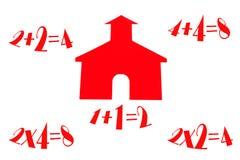 Het Huis van de school met Math Stock Afbeelding