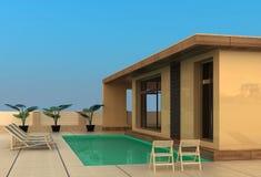 Het huis van de vakantie met zwembad. Stock Foto