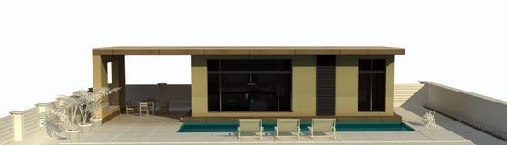 Het huis van de vakantie met zwembad. Stock Afbeelding