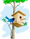 Het huis van de vogel en van de boom Stock Afbeelding