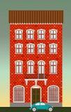 Het huis van de woning Klassieke stadsarchitectuur De vector historische bouw Lege Wegen Cityscape oud rood baksteenhuis Echt Stock Fotografie