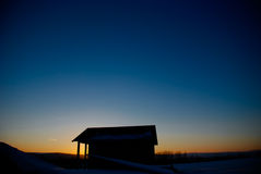 Het huis van de zonsondergang Royalty-vrije Stock Fotografie