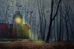 Het huis van Halloween met Maan en knuppels Royalty-vrije Stock Afbeelding