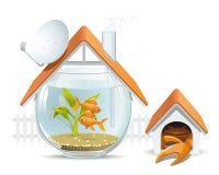 Het huis van het aquarium met een wacht Royalty-vrije Stock Foto's