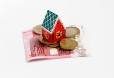 Het huis van het bankbiljettengeld Stock Afbeeldingen