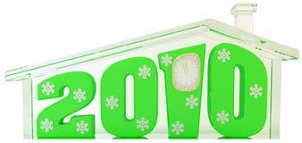Het huis van het glas met groene 2010 cijfers stock illustratie