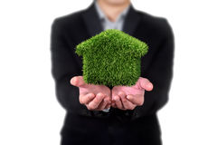 Het huis van het gras in menselijke handen, Zakenman Stock Foto's