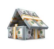 Het Huis van het het Pakgeld van Amerikaanse dollarrekeningen Royalty-vrije Stock Afbeeldingen