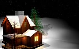 Het huis van het huis dat door sneeuw wordt behandeld Stock Foto