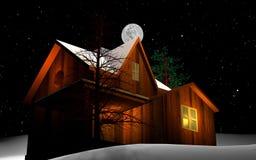 Het huis van het huis dat door sneeuw wordt behandeld Royalty-vrije Stock Afbeelding