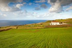 Het huis van het landbouwbedrijf bij de oceaankust, de Azoren, Portugal Royalty-vrije Stock Foto's