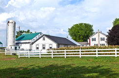 Het huis van het landbouwbedrijf met gebied en silo stock afbeelding