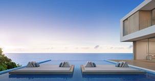 Het huis van het luxestrand met overzees menings zwembad in modern ontwerp, Vakantiehuis voor grote familie Stock Fotografie