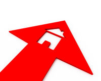 Het huis van het pictogram binnen pijl Stock Foto's