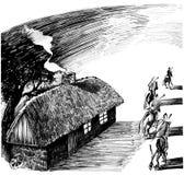 Het huis van het plattelandshuisje en vier ruiters Stock Fotografie