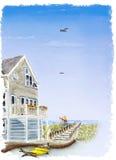 Het huis van het strand in de zomer stock illustratie