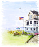Het huis van het strand in de zomer royalty-vrije illustratie