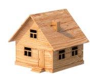 Het huis van het stuk speelgoed dat van triplex wordt gemaakt dat op wit wordt geïsoleerde Stock Foto's