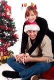 Het huis van Kerstmis van het paar stock afbeeldingen