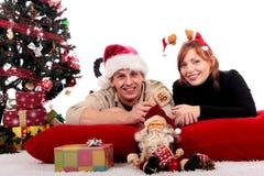 Het huis van Kerstmis van het paar stock fotografie