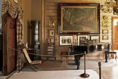 Het Huis van Troldhaugen van Edvard Grieg in Bergen stock afbeeldingen