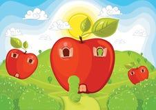 Het huis vectorillustratie van de appel stock illustratie