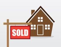 Het huis verkocht teken Stock Foto's