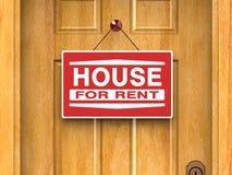 Het huis voor onroerende goederen huur, huis, deur, adverteert Stock Afbeelding