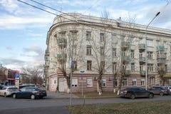 Het huis waar Ivan Yarygin leefde, een twee-tijd Olympische kampioen die in vrij slag in Krasnoyarsk-stad worstelen royalty-vrije stock fotografie