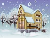 Het huis is in wintergarden Stock Afbeelding