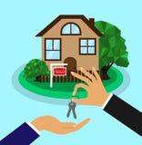 Het huis wordt verkocht Het concept van het verkoophuis De makelaar in onroerend goed geeft de sleutels aan het huis aan de koper stock illustratie