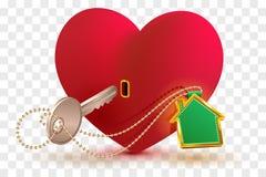 Het huis is zeer belangrijk aan hart van uw geliefd De het rode slot en sleutel van de hartvorm met sleutelringhuis stock illustratie