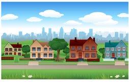Het huisachtergrond van de voorstad Royalty-vrije Stock Foto's