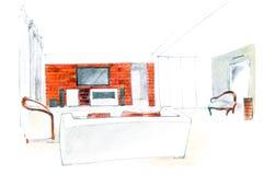 Het huisbinnenland van het tekeningsontwerp Stock Fotografie