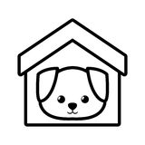 het huisdierenoverzicht van het hond honds jong huis royalty-vrije illustratie