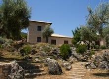 Het huisgebouwen van Lefkada Griekenland Stock Foto