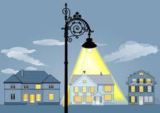 Het huislichten van de familie Stock Foto